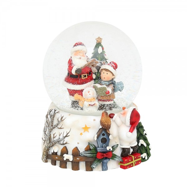 Polyresin Schneekugel Santa mit Kind auf weißem Sockel mit Schneemann 11,5 x 11,5 x 14,5 cm Ø 10 cm Spielwerk We wish you a merry Christmas