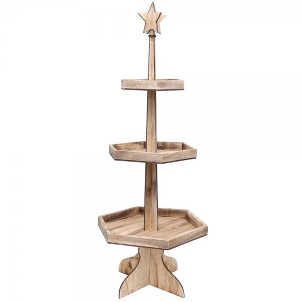 Holz Etagere rustikal 3 Etagen 36 x 36 x 86 cm