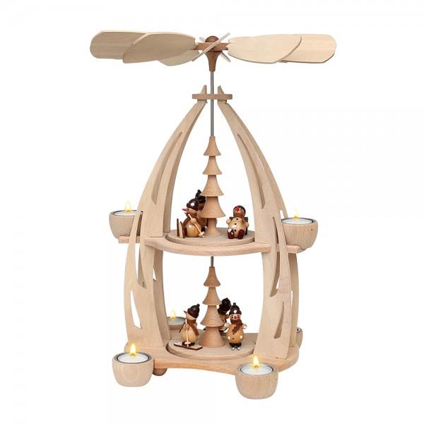 Holz Tischpyramide Schneemannfiguren groß für 6 Teelichte 22 x 23 x 45 cm