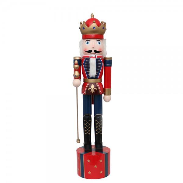 Holz Nussknacker Soldat König rot 32 x 29 x 140 cm XL