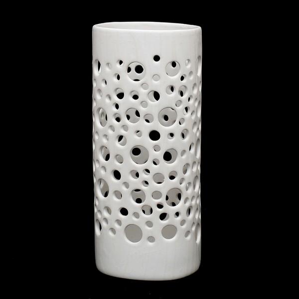 Keramik Zylindervase mit Löchern, Weiß 10 x 9,5 x 23 cm