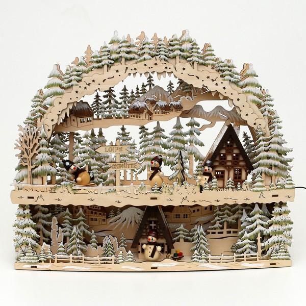 Holz Schwibbogen mit Bank Winterspaß mit Schneemann-Figuren (Rückseite verziert) (Laserholz) 45 x 10,5 x 37 cm Batteriebetrieb AA, inkl. Adapter 4,5 V, LED
