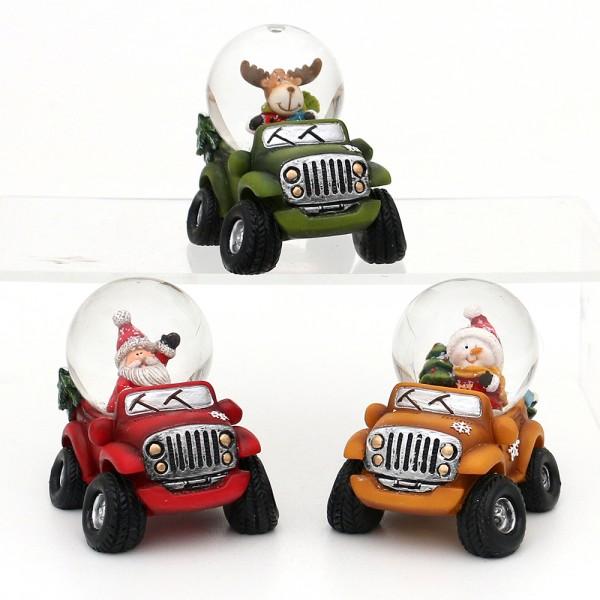 Polyresin Schneekugel Schneemann, Elch, Weihnachtsmann auf Auto 3-fach sort. 7,8 x 9,8 x 7 cm Ø 4,5 cm im Set