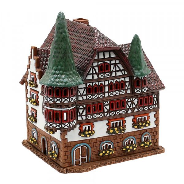 Keramik Licht-Duftölhaus (in Schornstein) Stadthaus mit Türmchen 15 x 14 x 17 cm
