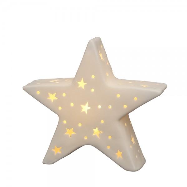 Porzellan Stern weiß 18,3 x 5,3 x 16 cm LED