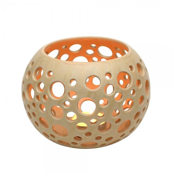 Keramik Leuchter Orion, Champagner 14 x 14 x 10,5 cm