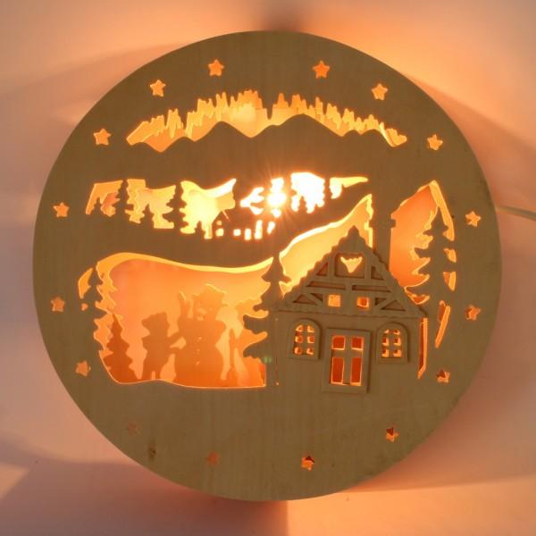 Fensterbild Winterzauber aus Holz mit Beleuchtungsset