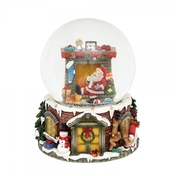 Polyresin Schneekugel Santa am Kamin 11 x 11,5 x 14,5 cm Ø 10 cm Spielwerk Santa Claus is coming to town