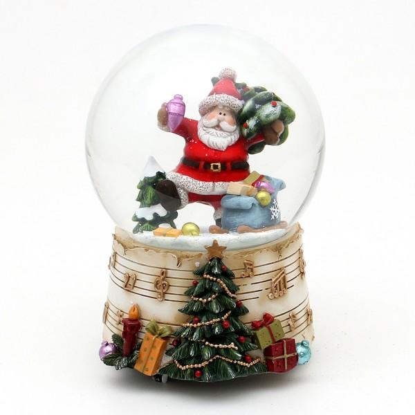 Polyresin Schneekugel fröhlicher Weihnachtsmann mit Geschenken auf Sockel mit Musiknoten 10 x 10,5 x 14,5 cm Ø 10 cm Spielwerk Jingle Bells