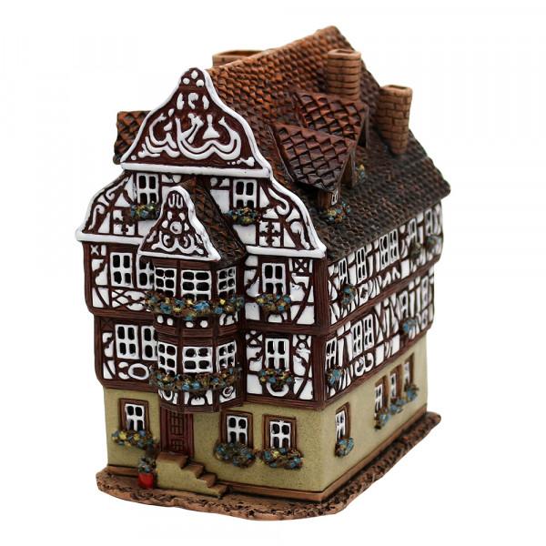 Keramik Licht-Duftölhaus (in Schornstein) Fachwerkhaus 11 x 16,5 x 17 cm