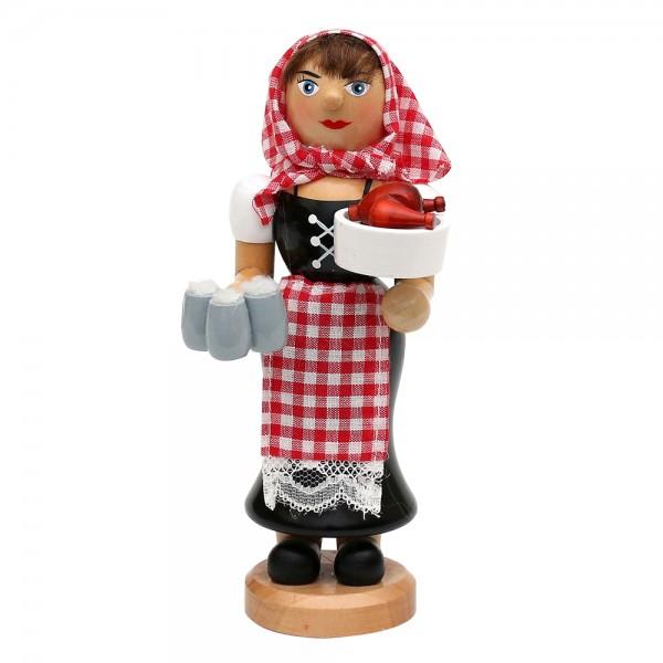 Holz Räucherfrau Zenzi mit dampfendem Hähnchen & Bierkrügen 7,5 x 7,5 x 18 cm