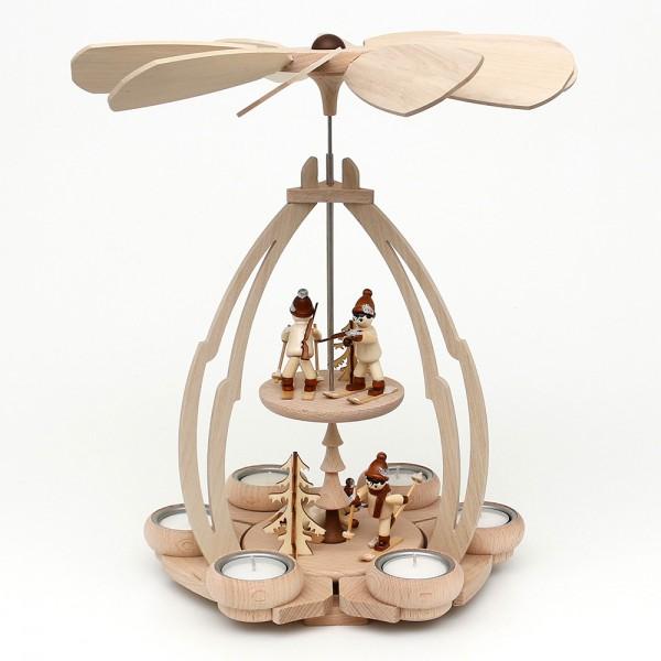 Holz Tischpyramide Biathlon mittel für 6 Teelichte 24 x 24 x 35 cm