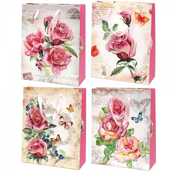 Papier Tragetasche Rosen mit Glitter ca. Din A4 4-fach sort. 26 x 10 x 32 cm 3D im Set