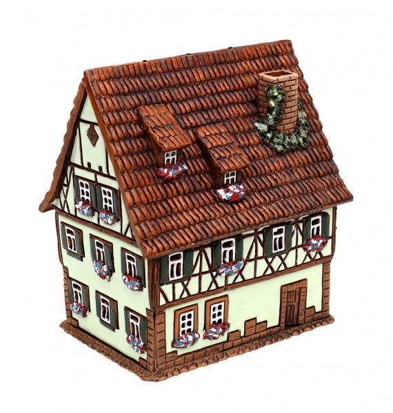 Keramik Licht-Duftölhaus (in Schornstein) hellgrün 14 x 10 x 15 cm