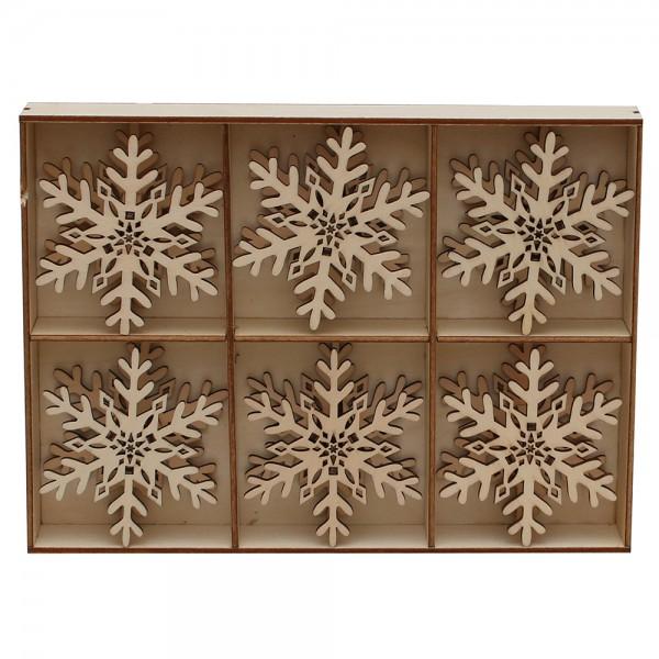 6er Set Holz Aufsatz für Spitzkerzen Schneeflocke (Laserholz) 8 x 3 x 8 cm