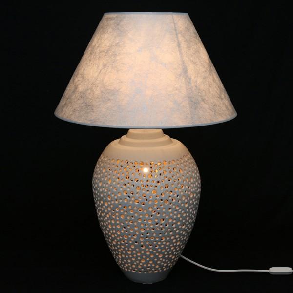 Keramik Tischlampe Galaxy (Leuchtmittel nicht enthalten), Weiß 45 x 45 x 68 cm 230 V Kabel, E14, E27