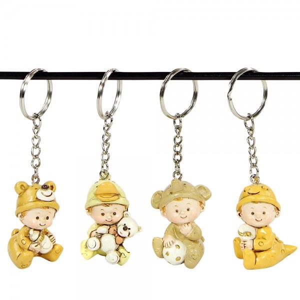 Polyresin Kind-Schlüsselanhänger, creme/braun 4-fach sort. 2,5 x 3 x 8,5 cm im Set