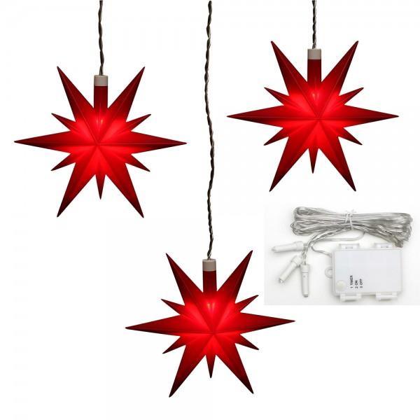 3er Set Plastik Weihnachtsstern Farbe rot, inkl. Batteriefach, Timer 6h 13,5 x 5,5 x 12 cm Ø 13 cm Batteriebetrieb AA, LED, wetterfest/für außen geeignet