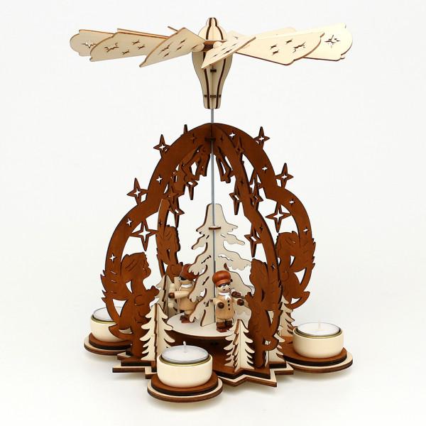 Holz Teelichtpyramide Sterntaler natur/braun, mit Bäckerfiguren (Laserholz) für 4 Teelichte 23 x 23 x 29 cm