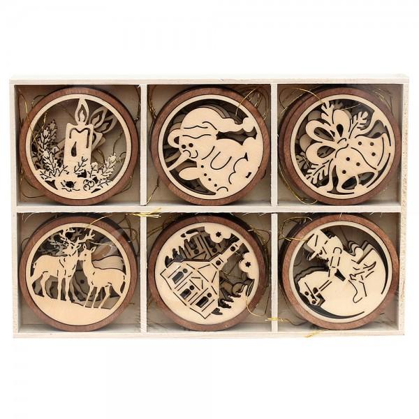 24er Set Holz Anhänger rund mit braunem Ring (Laser) 6-fach sort. 5 x 5 cm im Set