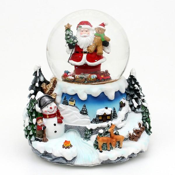 Polyresin Schneekugel Santa mit bewegter Eisenbahn 19,2 x 19 x 20 cm Ø 12 cm Batteriebetrieb AA, LED, Bewegung, Farbwechsel, Sound