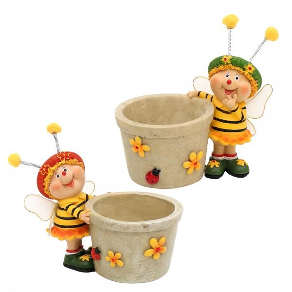 Polyresin Bienen Sarah & Marie mit Pot 2-fach sort. 12,5 x 8 x 12 cm Ø 6,5 cm im Set