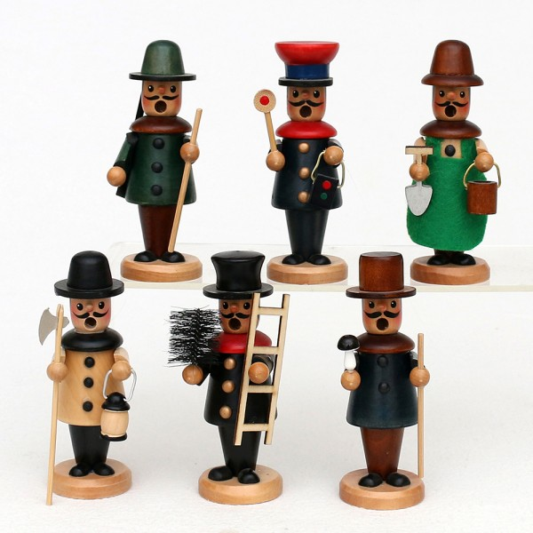 Holz Räuchermannfiguren klein 6-fach sort. 5 x 5 x 13 cm im Set