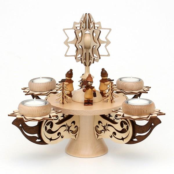 Holz Adventsleuchter mit Stern, Kurrende, natur/braun, edel verziert, für 4 Teelichte 28 x 28 x 27 cm