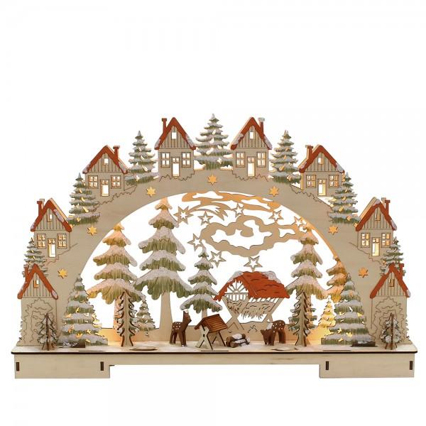 Holz Schwibbogen Futterkrippe mit geschnitzten Rehen 45 x 7,5 x 29 cm Batteriebetrieb AA, inkl. Adapter 4,5 V, LED