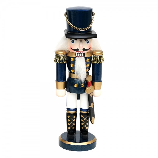 Holz Nussknacker Soldat, blau metallic 7 x 5,5 x 20 cm