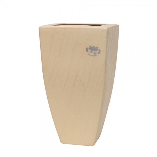 Keramik Vase Tulip-Viereck, Champagner 15 x 15 x 26,5 cm