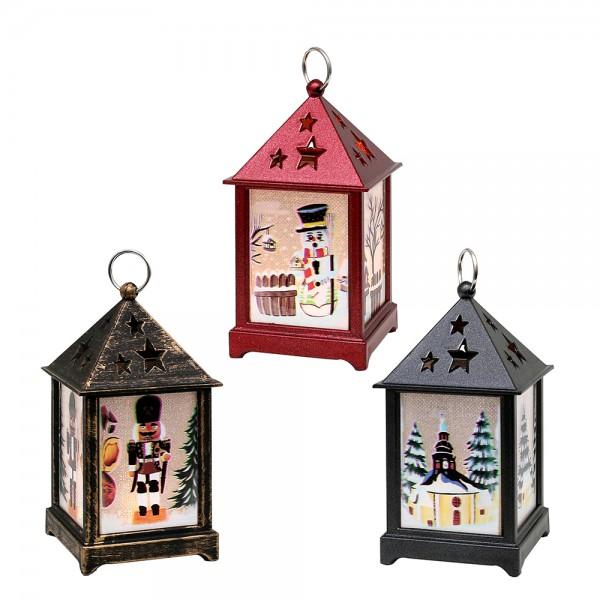 Kunststoff LED-Mini-Laterne schwarz-metallic,rot-metallic, braun/gold mit Kerze und Weihnachtsmotiven 3-fach sort. 6,5 x 6,5 x 12,5 cm LED im Set