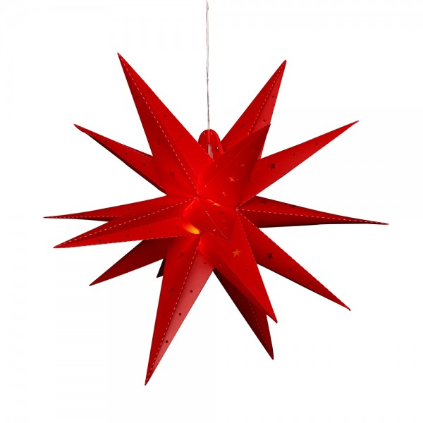 Kunststoff Falkensteiner Adventsstern 18 Spitzen zum Aufklappen, rot 60 x 60 x 60 cm inkl. Adapter 4,5 V, LED, wetterfest/für außen geeignet
