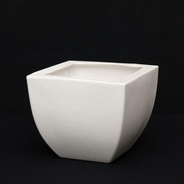 Keramik Übertopf Quadro, Weiß 14 x 14 x 16 cm