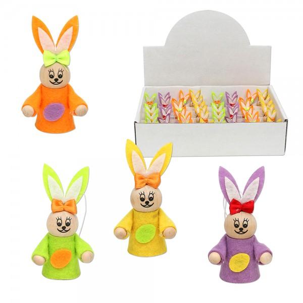 Holz Hasen zum anhängen mit Filz und Schleife, Farben 4-fach sort. 4 x 3,5 x 7 cm im Set