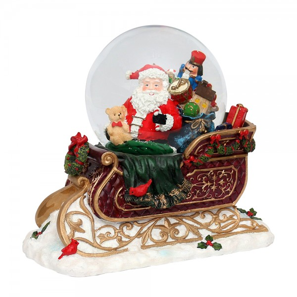 Polyresin Schneekugel Schlitten mit Santa 28 x 16 x 24 cm Ø 15 cm Batteriebetrieb AA, LED, Farbwechsel, Glitterwirbel, Sound, XXL