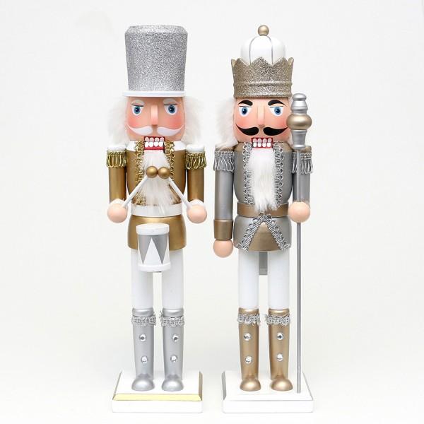 Holz Nussknacker König/Trommler mit Glitter, silber/weiß, gold/weiß 2-fach sort. 10 x 10 x 38 cm im Set