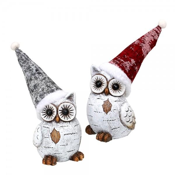 Keramik Weihnachts-Schneeeule weiß mit Weihnachtsmütze 2-fach sort. 10 x 9,5 x 13,5 cm im Set