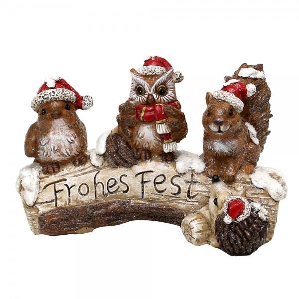 Polyresin Weihnachtstiere Eule, Eichhorn, Vogel & Igel auf Holzstamm, mit Weihnachtsmütze 22,5 x 12 x 15 cm