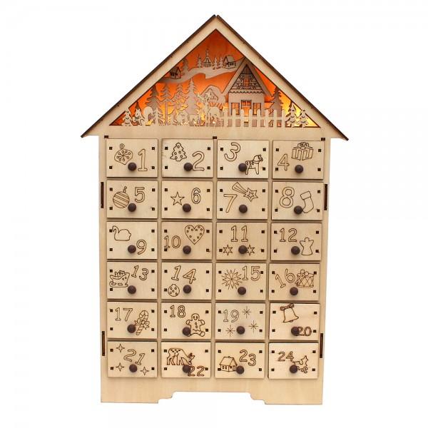 Holz Adventskalender Winterwald (Laserholz) 30 x 7,5 x 45 cm Batteriebetrieb AA, LED