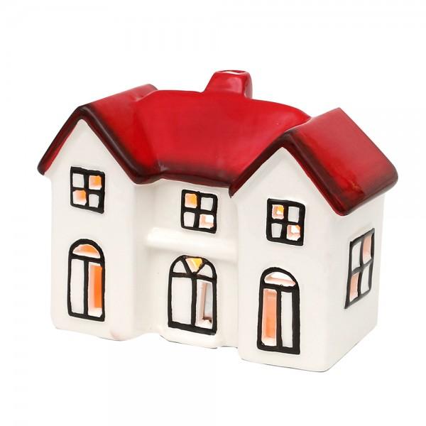 Dolomite Windlichthaus weiß/rot glasiert 13,5 x 6,5 x 10,5 cm