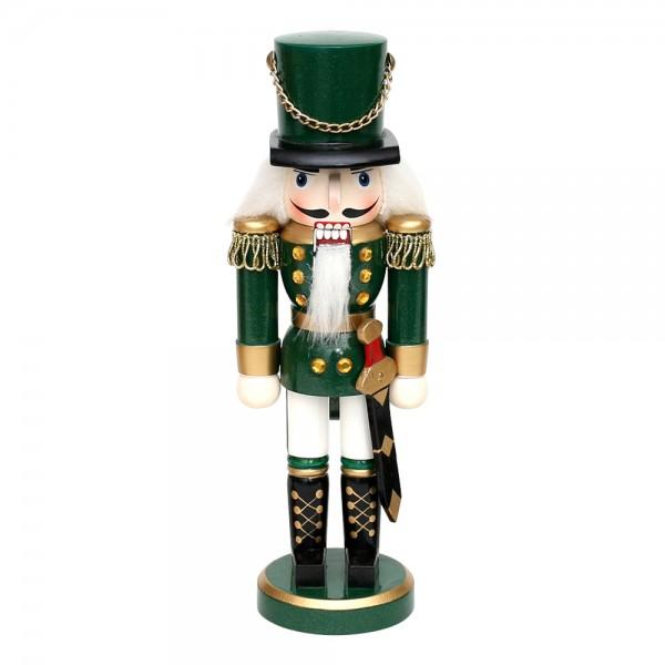 Holz Nussknacker Soldat, grün metallic 7 x 5,5 x 20 cm