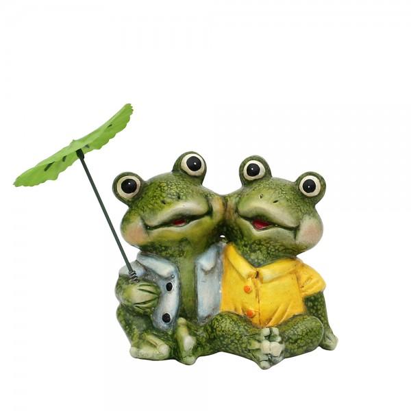 Keramik Froschfigurenpaar sitzend mit Schirm 14,7 x 11 x 12 cm