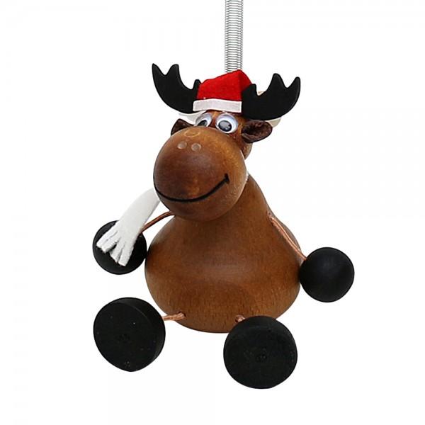 Holz Figur Weihnachtselch mit Sprungfeder 8,5 x 8,5 x 12 cm
