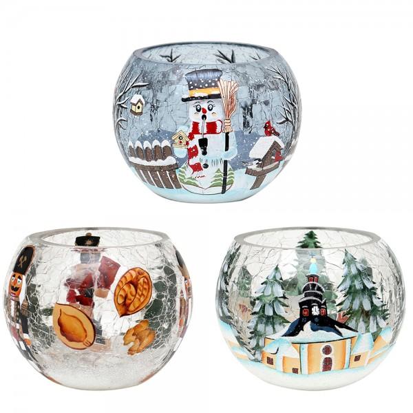 Glas Windlicht Kugel Nussknacker, Seiffen, Räucher-Schneemann CRACKED Glas 3-fach sort. 10 x 10 x 8 cm im Set