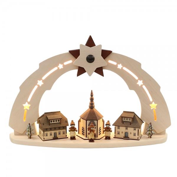 Holz Schwibbogen Seiffener Kirche mit Kurrentefiguren (Bogen innen beleuchtet) 50 x 11,5 x 33 cm 230 V Kabel, LED