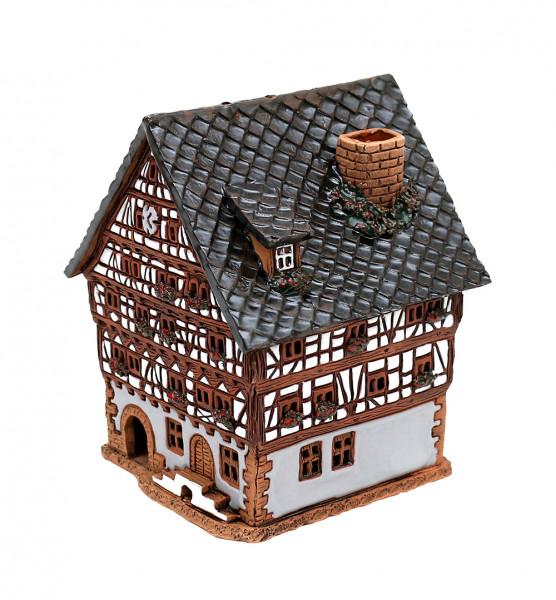 Keramik Licht-Duftölhaus (in Schornstein) Fachwerkhaus 11 x 10 x 13,5 cm