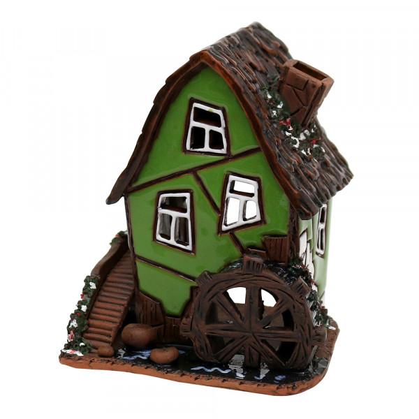 Keramik Licht-Duftölhaus (in Schornstein) Wassermühle grün 9,5 x 9 x 11 cm