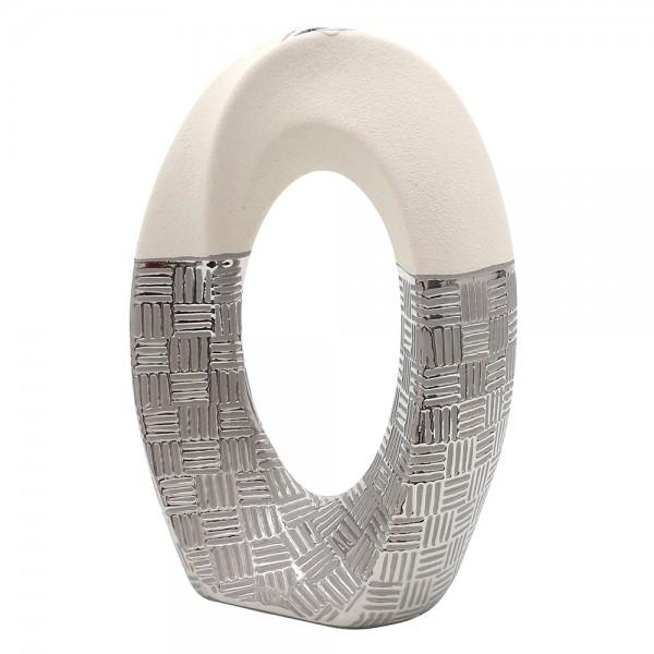 Keramik Vase Bali oval gedreht mit Loch 21 x 11 x 33 cm