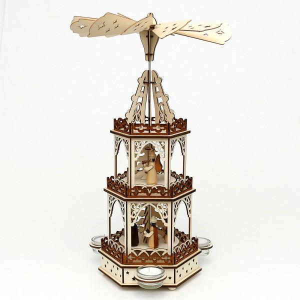 Holz Teelichtpyramide Heilige Familie 3 Etagen (Laserholz) für 3 Teelichte 19 x 16,5 x 42 cm